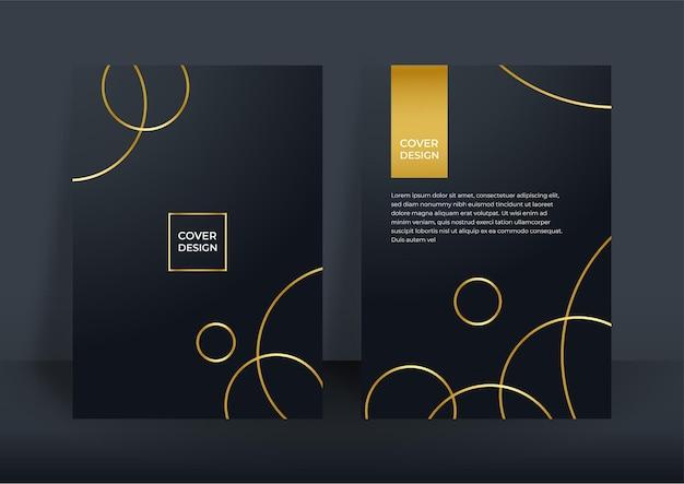 Fundo de capa de negócios de luxo, decoração abstrata, padrão dourado, gradientes de meio-tom, ilustração vetorial 3d. modelo de capa em ouro preto, formas geométricas, banner minimalista moderno