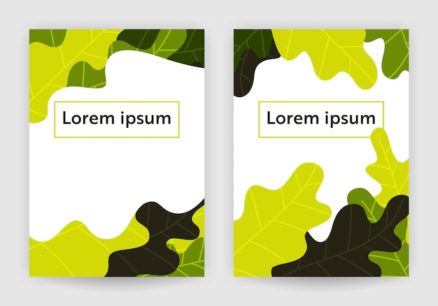 Fundo de capa de vetor abstrato folhas verdes