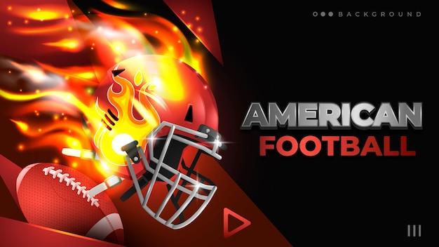 Fundo de capacete de futebol americano vermelho em chamas