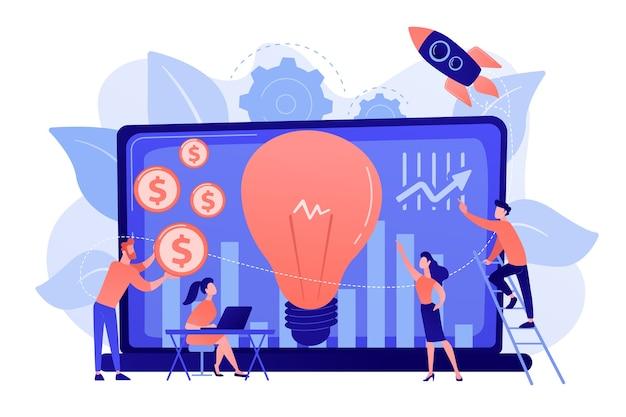 Fundo de capital que financia pequena empresa com alto potencial de crescimento. capital de risco, investimento de risco, financiamento de risco, conceito de anjo de negócios