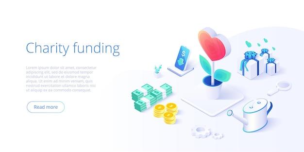 Fundo de caridade ou cuidados no conceito isométrico. comunidade voluntária ou metáfora de doação. layout de banner da web para ajuda ou suporte de pessoas,