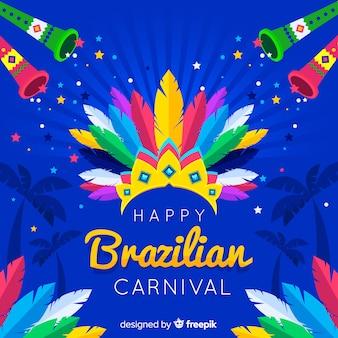 Fundo de carnaval brasileiro de coroa de penas