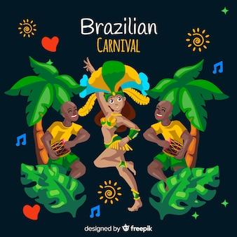 Fundo de carnaval brasileiro de dançarina de mão desenhada