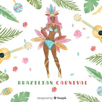 Fundo de carnaval brasileiro de dançarina em aquarela