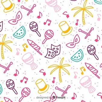 Fundo de carnaval brasileiro de doodle