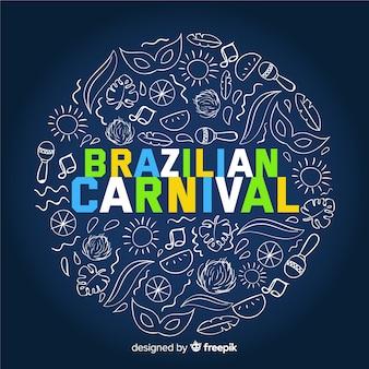 Fundo de carnaval brasileiro de elementos doodle