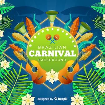 Fundo de carnaval brasileiro de folhas realistas