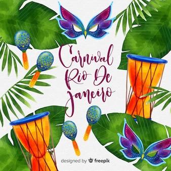 Fundo de carnaval brasileiro de instrumentos em aquarela