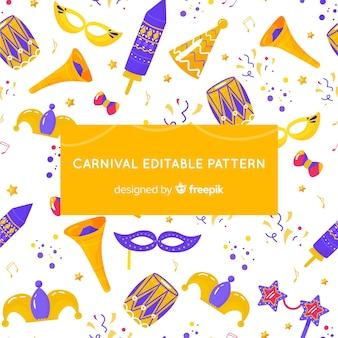 Fundo de carnaval brasileiro de mão desenhada
