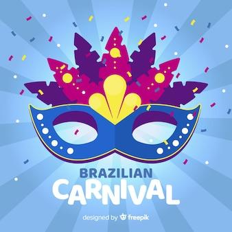 Fundo de carnaval brasileiro de máscara colorida