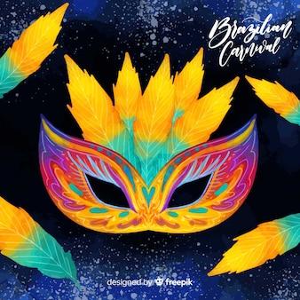 Fundo de carnaval brasileiro de máscara em aquarela