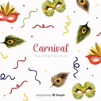 Fundo de carnaval brasileiro em aquarela