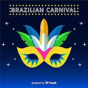 Fundo de carnaval brasileiro grande máscara