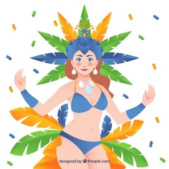 Fundo de carnaval brasileiro plano com ilustração do dançarino de samba