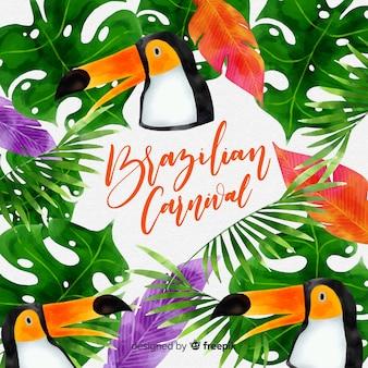 Fundo de carnaval brasileiro tucan aquarela
