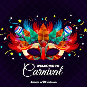 Fundo de carnaval criativo com máscara