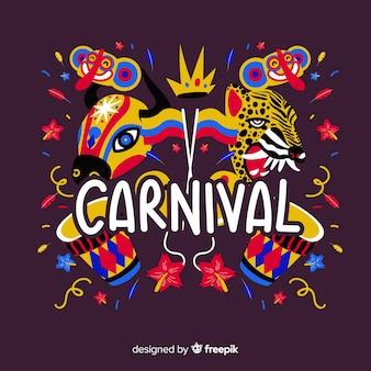 Fundo de carnaval de animais de mão desenhada
