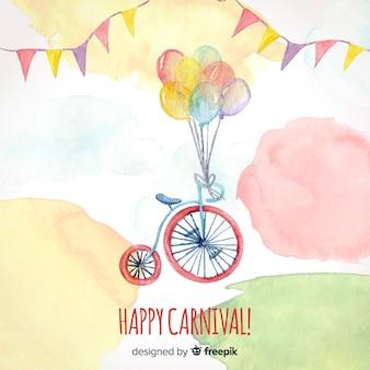 Fundo de carnaval de bicicleta em aquarela