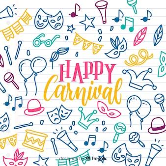 Fundo de carnaval de elementos doodle