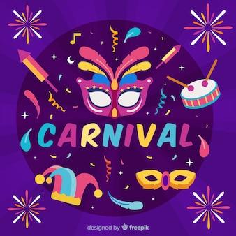 Fundo de carnaval de fogos de artifício plana