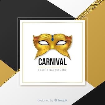 Fundo de carnaval de máscara de ouro