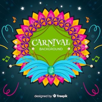 Fundo de carnaval de moldura de penas