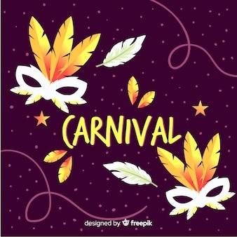 Fundo de carnaval de penas douradas