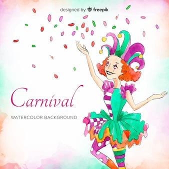 Fundo de carnaval em aquarela