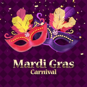 Fundo de carnaval mardi gras. máscara tradicional com penas e confetes