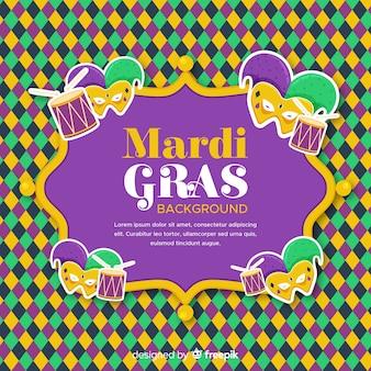 Fundo de carnaval plano mardi gras