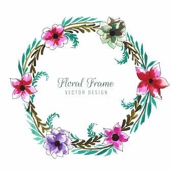 Fundo de cartão com linda moldura floral circular