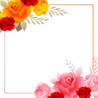 Fundo de cartão com moldura floral colorida de bela composição