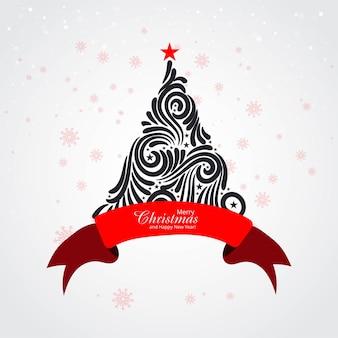 Fundo de cartão comemorativo de árvore de natal de férias