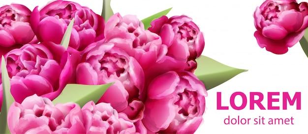 Fundo de cartão de buquê de flores de peônia