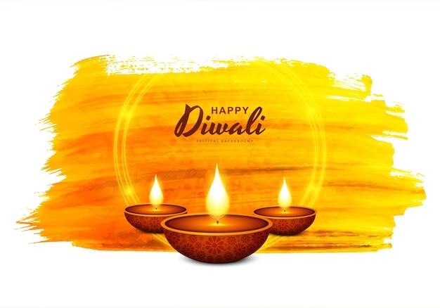Fundo de cartão de celebração do festival de diwali lâmpada de óleo decorativa