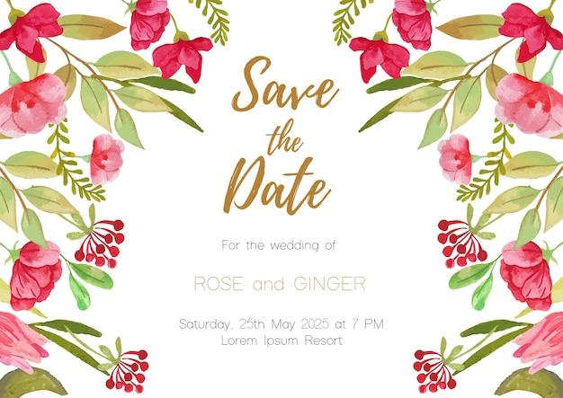 Fundo de cartão de convite de casamento de tema floral