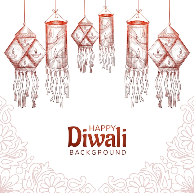 Fundo de cartão de desenho de luzes decorativas happy diwali