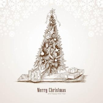 Fundo de cartão de desenho de natal desenhado à mão