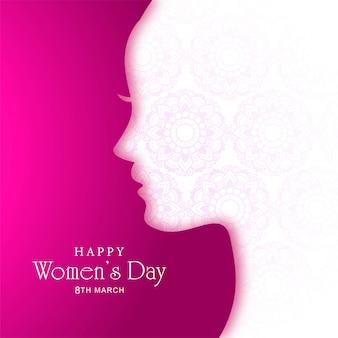 Fundo de cartão de dia das mulheres lindo rosto feminino