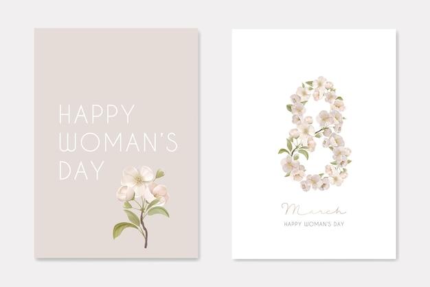 Fundo de cartão de dia internacional da mulher 8 de março com flores realistas. oito número feito de flores de cerejeira, composição para férias românticas, elegante design vintage. ilustração vetorial