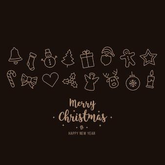Fundo de cartão de elementos de ícones de enfeite de natal