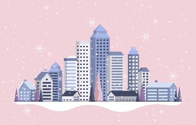 Fundo de cartão de felicitações de feliz ano novo em snowy city