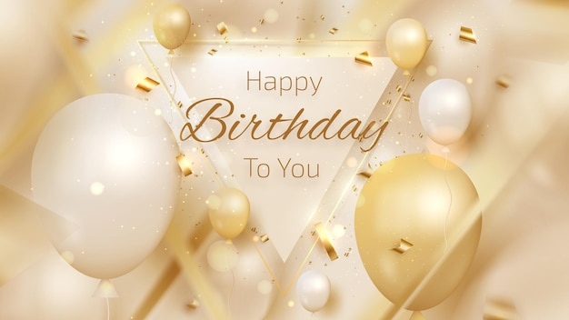 Fundo de cartão de feliz aniversário de luxo, balões e fita dourada e elemento de linha borrada, design de modelo de cenário de saudação, capa moderna. ilustração 3d realista do vetor.