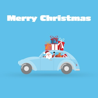 Fundo de cartão de feliz natal e feliz ano novo com carro e caixa de presente.