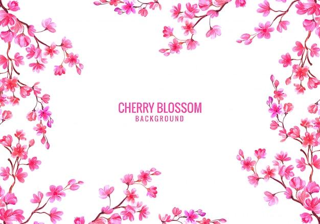 Fundo de cartão de flor de cerejeira