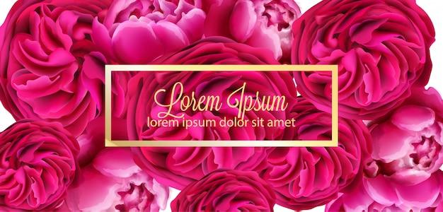 Fundo de cartão de flores de peônia vermelha