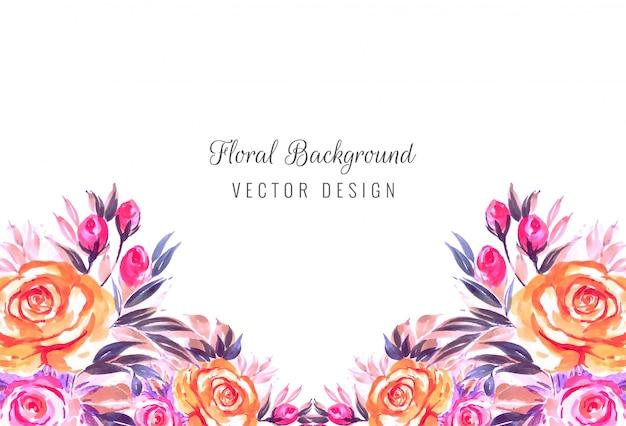 Fundo de cartão de flores em aquarela de convite de casamento