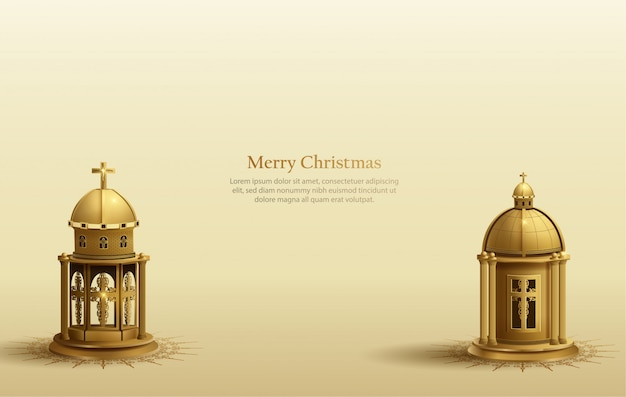Fundo de cartão de natal com duas lanternas douradas da igreja