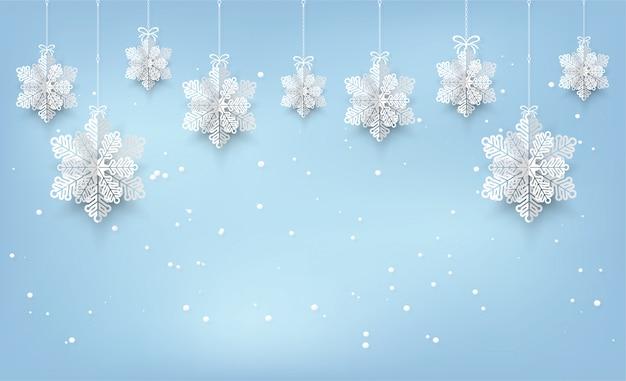 Fundo de cartão de natal com estilo de corte de papel de floco de neve.