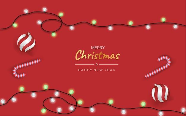 Fundo de cartão de natal com luzes e bolas de natal